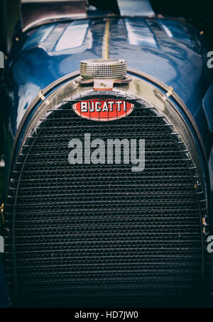 Vintage Bugatti Type 35B Racing Car front end. UK. Vintage filter applied - Stock Photo