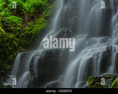 A long exposure close up view of Fairy Falls just east of Portland Oregon - Stock Photo