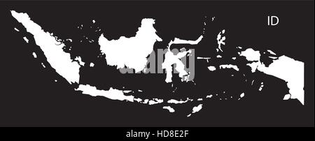 Indonesia Map black and white illustration - Stock Photo