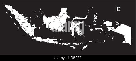 Indonesia provinces Map black and white illustration - Stock Photo