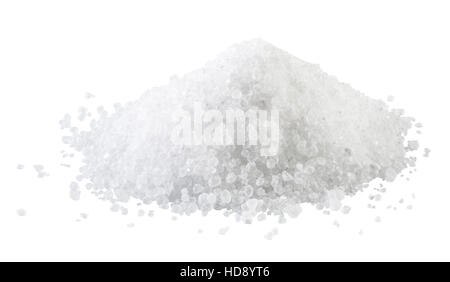 Pile of white rock salt on the white background. - Stock Photo