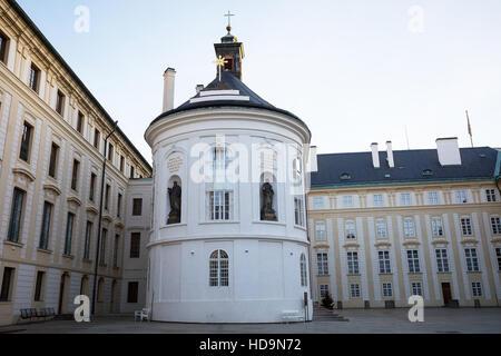 PRAGUE, CZECH REPUBLIC - DECEMBER 3, 2016: Chapel of St. Cross in second courtyard in Prague Castle. December 3, - Stock Photo