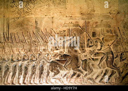 Army of King Suryavarman II in movement, South Gallery, Angkor Wat, Siem Reap, Cambodia, UNESCO World Heritage Site - Stock Photo