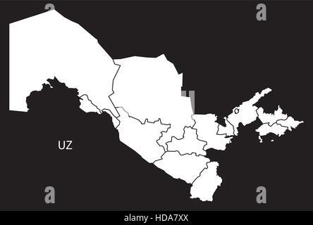 Uzbekistan provinces Map black and white illustration - Stock Photo