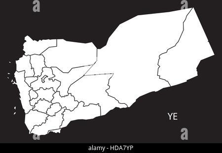 Yemen governorates Map black and white illustration - Stock Photo