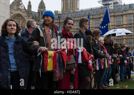 London, UK. 10th December 2016. A large group of pro-EU supporters gather in Old Palace Yard to take part in 'The - Stock Photo