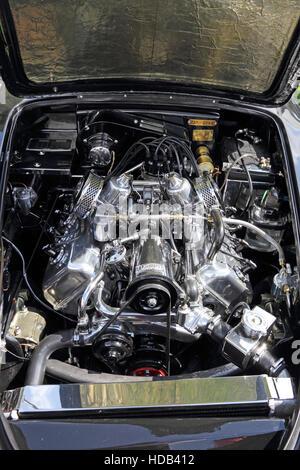 Engine compartment of 1964 Daimler Dart V8 2.5 litre sports car - Stock Photo