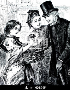 Victorian flower girl, illustration from 1884 Chatterbox weekly children's paper - Stock Photo