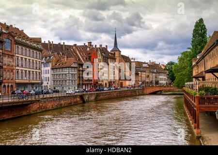 Canal and Saint-Nicolas dock by day in Strasbourg, France - Stock Photo