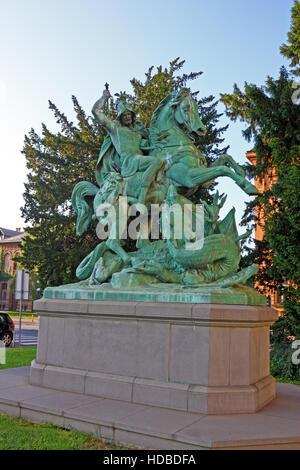 St George Killing the Dragon, sculpture in Zagreb, Croatia - Stock Photo