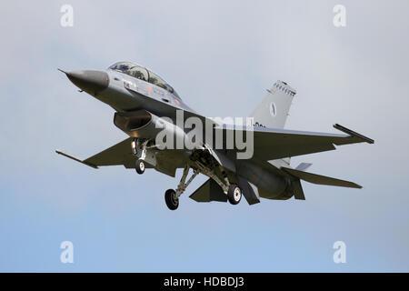 Royal Netherlands Air Force F-16 fighter jet plane landing - Stock Photo