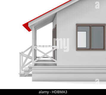 House close-up. Covered porch and window - Stock Photo