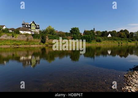 River Weser near Höxter, North Rhine-Westphalia, Germany - Stock Photo