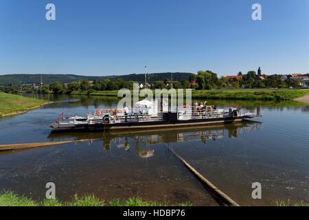 Ferry on river Weser near Lippoldsberg, Hesse, Germany - Stock Photo