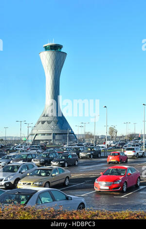 Edinburgh Airport Ingliston Scotland UK Air Traffic Control Tower architecture with large airport car park cold - Stock Photo