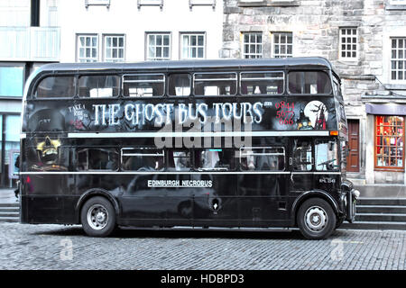 Scottish Ghost Bus Tours parked in Lawnmarket Edinburgh Scotland uk refurbished London Routemaster double decker - Stock Photo