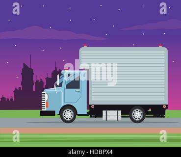 truck cargo service transport night city - Stock Photo
