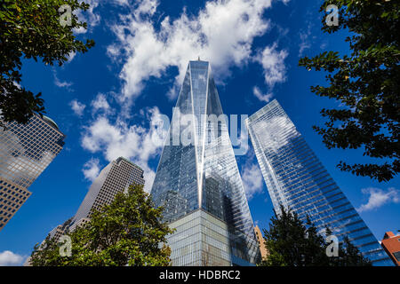 One and Seven World Trade Center skyscrapers with a blue morning sky. Manhattan, New York City - Stock Photo