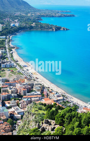 View of sandy beach from La Rocca, Cefalu, Sicily, Italy - Stock Photo