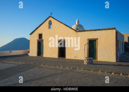 Old church of Quattropani, Chiesa Vecchia di Quattropani, Lipari Island, Aeolian Islands, UNESCO World Heritage - Stock Photo