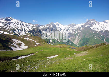 Panoramic view of the mountains, Grossglockner High Alpine Mountain Road, Hohe Tauern National Park, Salzburg, Austria, - Stock Photo