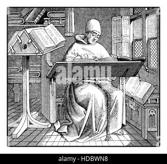 Medieval monk copying an ancient manuscript, engraving - Stock Photo
