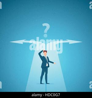 Business concept vector illustration. Choices, career, confused mind concept. Elements are layered separately in - Stock Photo