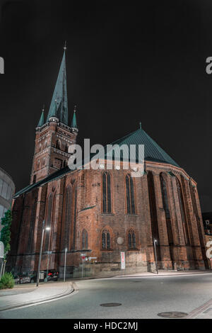 St. Petri church in Luebeck at night - Stock Photo