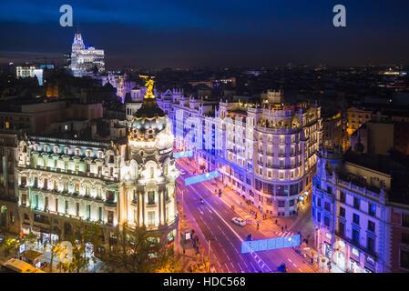 Madrid, Spain cityscape at Calle de Alcala and Gran Via. - Stock Photo