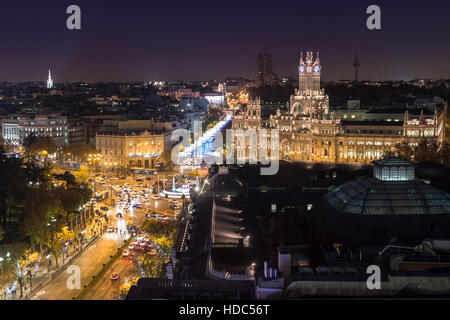 Panoramic view from rooftop cafe of Madrid looking towards Plaza de Cibeles. Spain. - Stock Photo