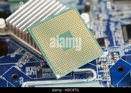 Close-up photo of CPU on laptop motherboard - Stock Photo