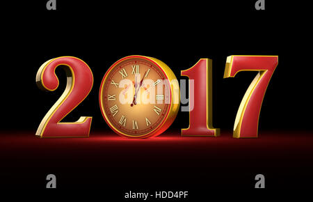 New Year 2017. Christmas. Red and gold figures, midnight.  Fabulous clock. Available in high resolution and several - Stock Photo