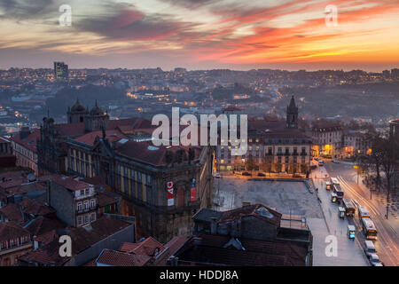 Sunset in Porto, Portugal. - Stock Photo