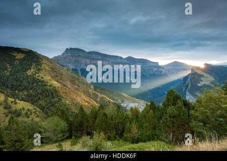 Sunrise in Ordesa y Monte Perdido National Park, Huesca, Aragon, Spain. Pyrenees mountains. - Stock Photo