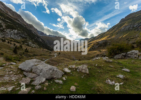 Autumn afternoon in Otal valley, Pyrenees mountains near Torla, Spain. - Stock Photo