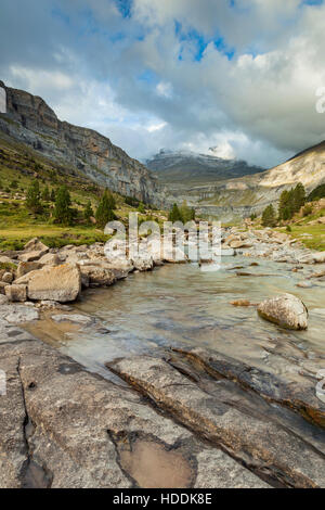 Autumn afternoon in Ordesa y Monte Perdido national park, Pyrenees, Spain. - Stock Photo