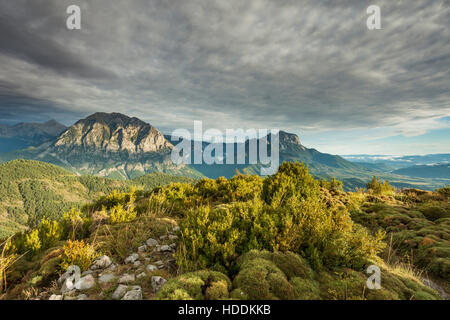 Autumn afternoon in Pyrenees mountains near Tella, Huesca, Aragon, Spain. - Stock Photo