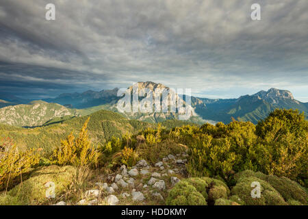 Autumn afternoon in the Pyrenees mountains, Huesca, Spain. - Stock Photo