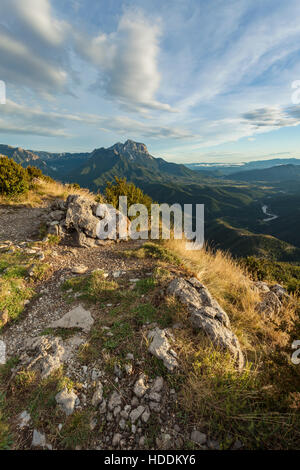 Autumn afternoon in the Pyrenees near Tella, Huesca, Aragon, Spain. - Stock Photo