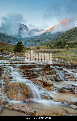 Autumn afternoon in Aisa valley, Huesca, Aragon, Spain. Pyrenees mountains. - Stock Photo