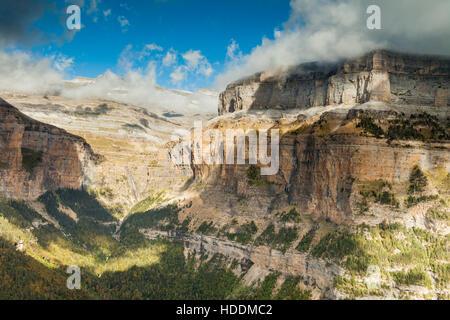 Autumn in Ordesa y Monte Perdido National Park, Huesca, Aragon, Spain, Pyrenees mountains. - Stock Photo