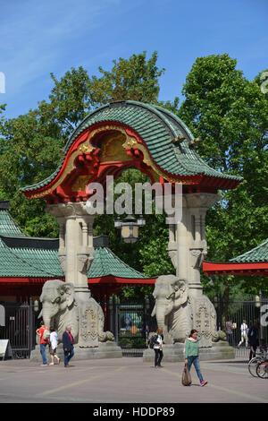 Elefantentor, Zoo, Budapester Strasse, Tiergarten, Mitte, Berlin, Deutschland - Stock Photo