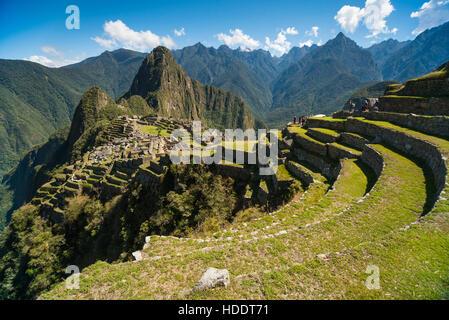 View of the Lost Incan City of Machu Picchu near Cusco, Peru. Machu Picchu is a Peruvian Historical Sanctuary. Terraces - Stock Photo