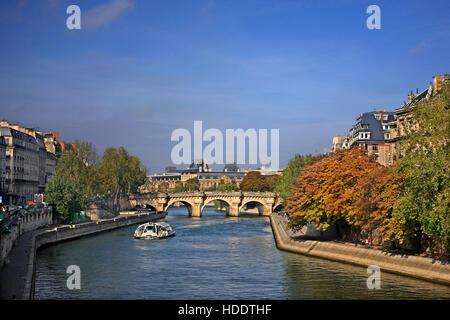 The Pont Neuf (literally 'New Bridge'), the oldest standing bridge across the river Seine in Île de la Cité,  Paris, - Stock Photo