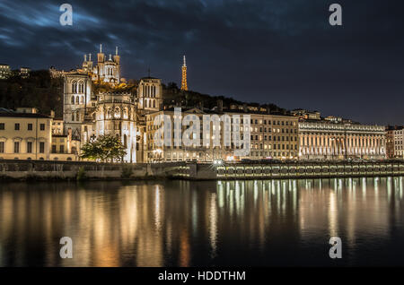 View of Lyon at night - Stock Photo