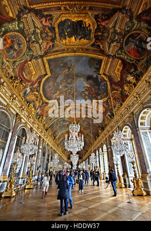 The 'Hall of Mirrors' in the Palace of Versailles, France. - Stock Photo