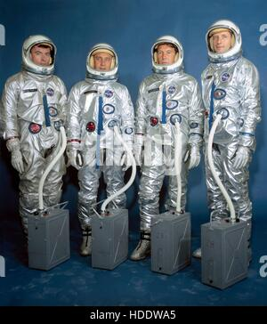Official NASA portrait of Gemini 3 crew astronauts (L-R) John Young, Gus Grissom, Wally Schirra, and Thomas Stafford - Stock Photo