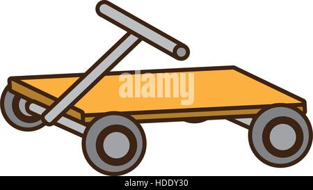 cartoon hand pallet lift boxes delivery - Stock Photo