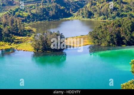 The Colorful Lakes, or multi-colored lakes, or Telaga Warna in Indonesian, is one of the three main sights on the - Stock Photo