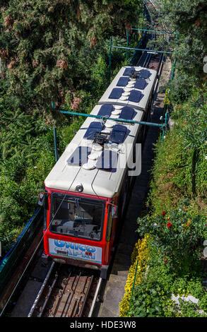 The funicular railway on the island of Capri, Campania, Italy. - Stock Photo